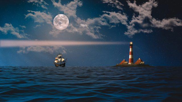 月と灯台に導かれる帆船